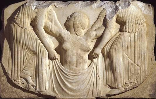 Naissance d'Aphrodite Vème s av J.- C. détail du trône Ludovisi Musée des THermes de Rome