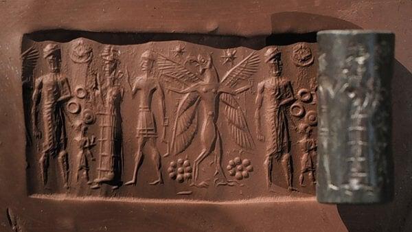 Sceau-cylindre en hématite paléo-babylonien 1900 av.J.C.