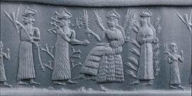 Sceau-cylindre Akkadien 2340 av.J.C.Nidaba déesse de l'orge et de l'écriture et la purification